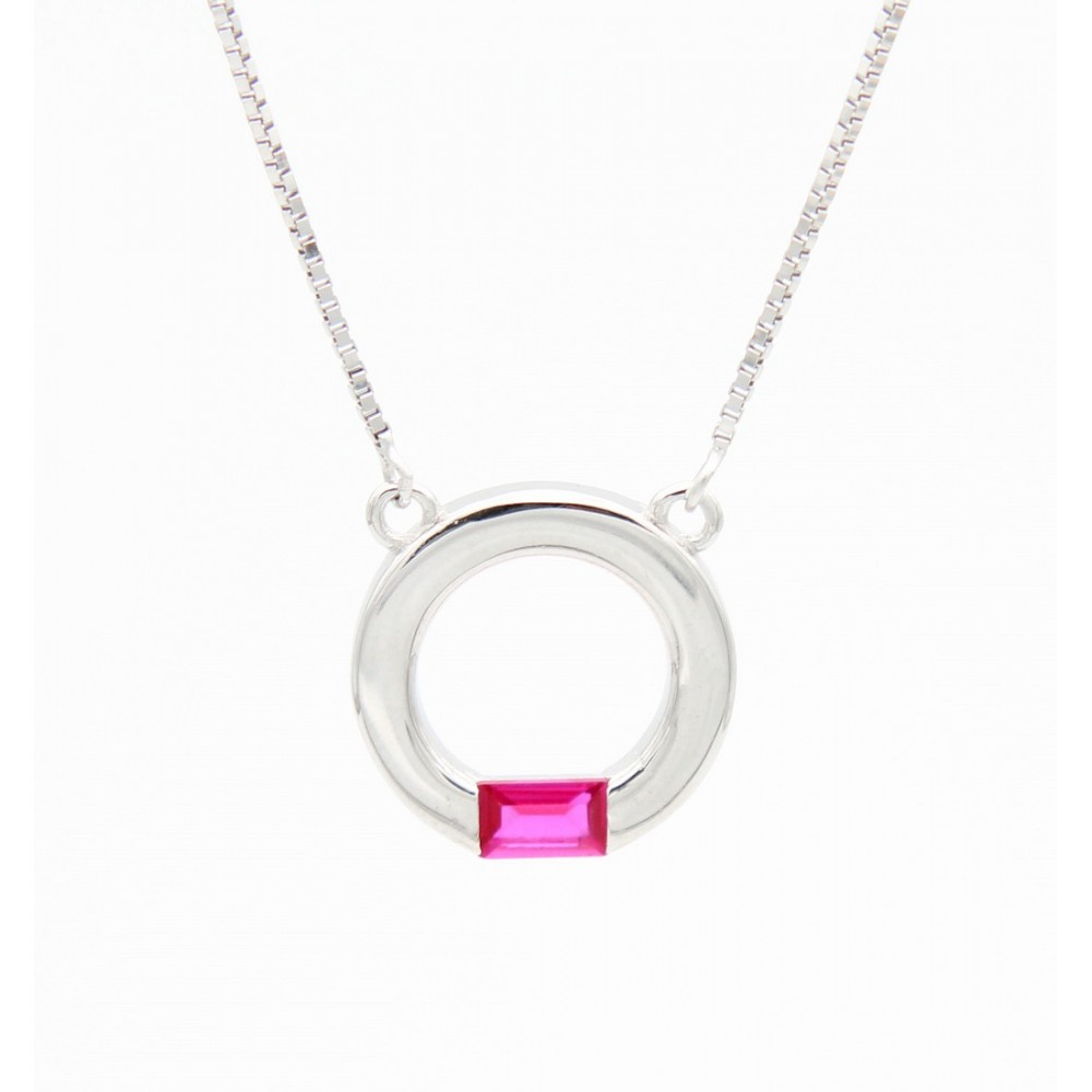 Hollow Circle with Pink Pendant