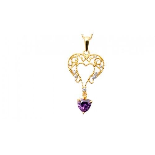 Purple CZ Gold Pendant