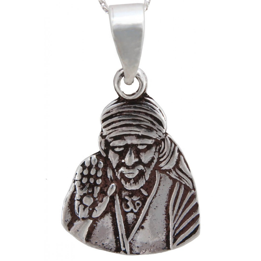 The Sri Sai Oxidized Silver Pendant