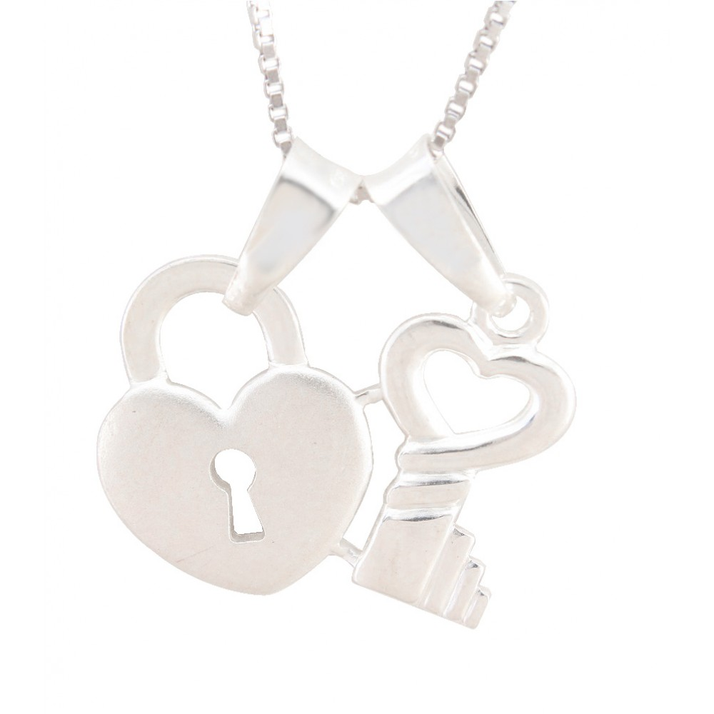 Heart Shape Lock And Key Pendant