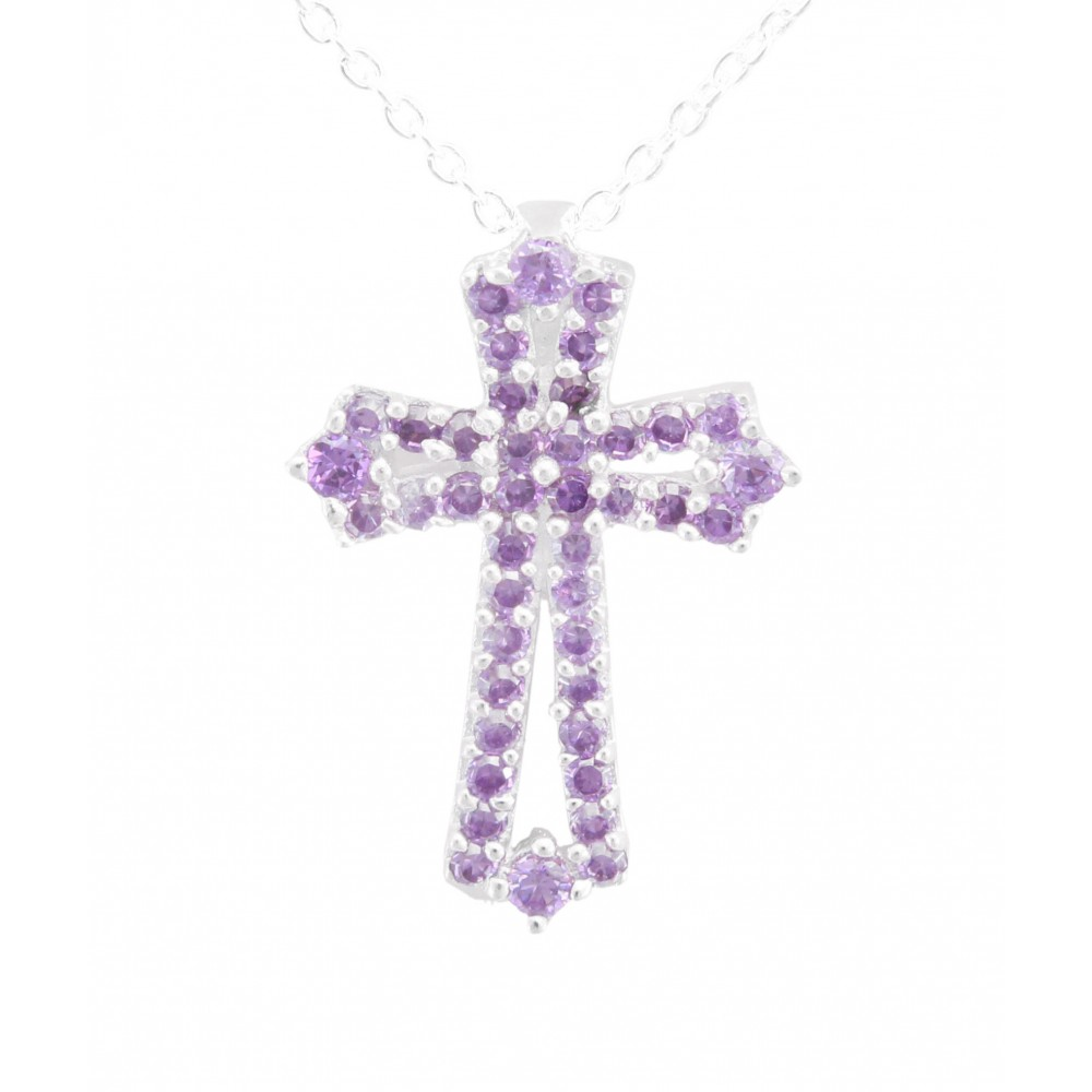 Cross Purple CZ Pendant
