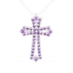 Cross Purple CZ Pendant
