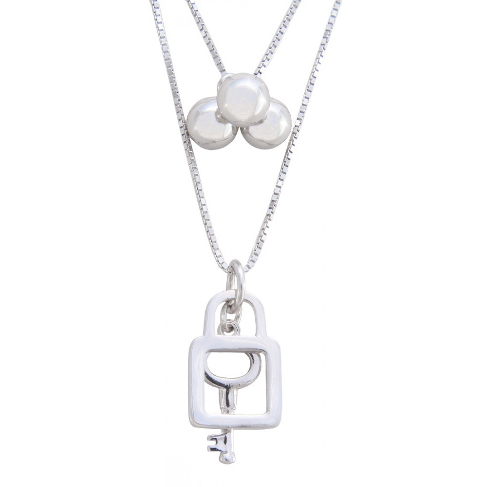 Key and Lock Silver Pendant With Chain
