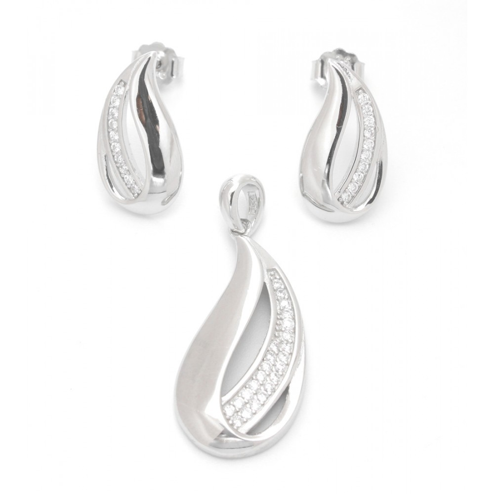 Sterling Silver Drop Shape Pendant Set without chain