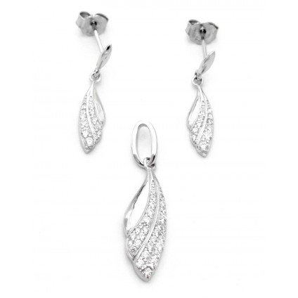 Sterling Silver Leaf Design Pendant Set without chain