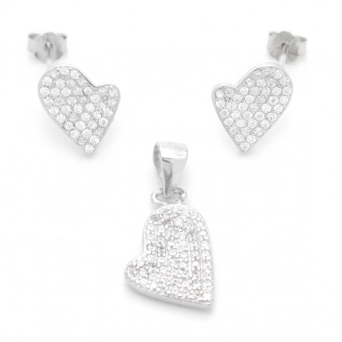 Sterling Silver Tild Heart Shape Pendant Set without chain