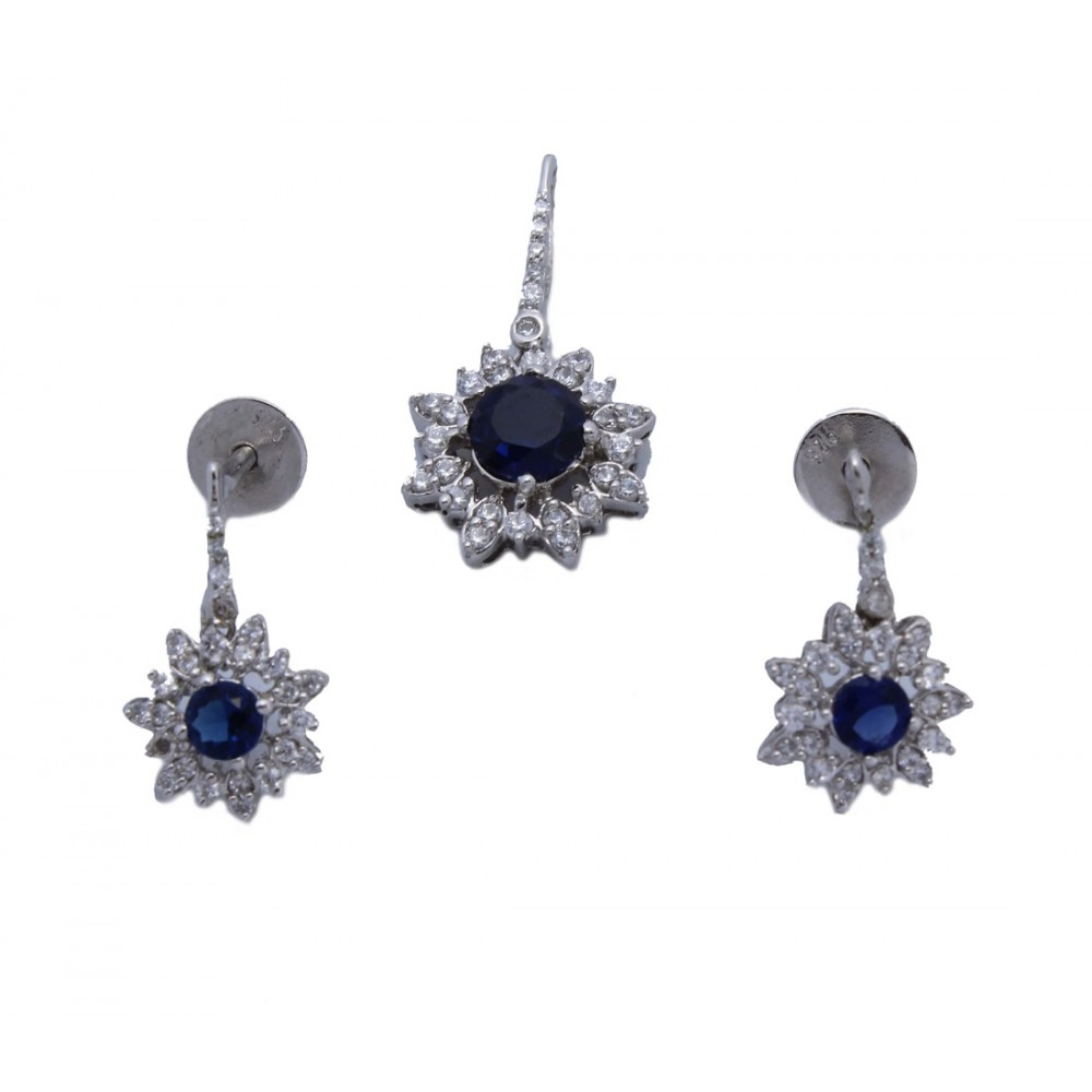 Blue Stone Flower Pendant Set