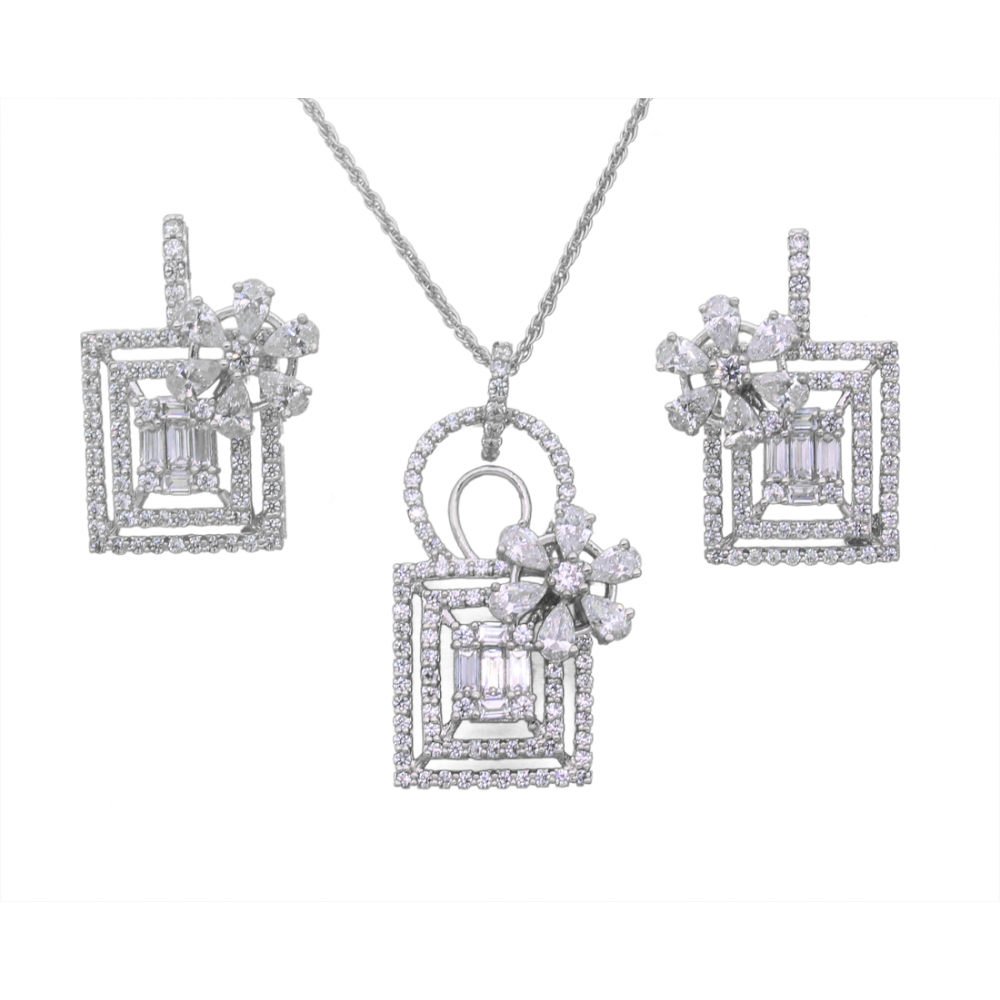 Swarovski Studded Floral Purse pendant set