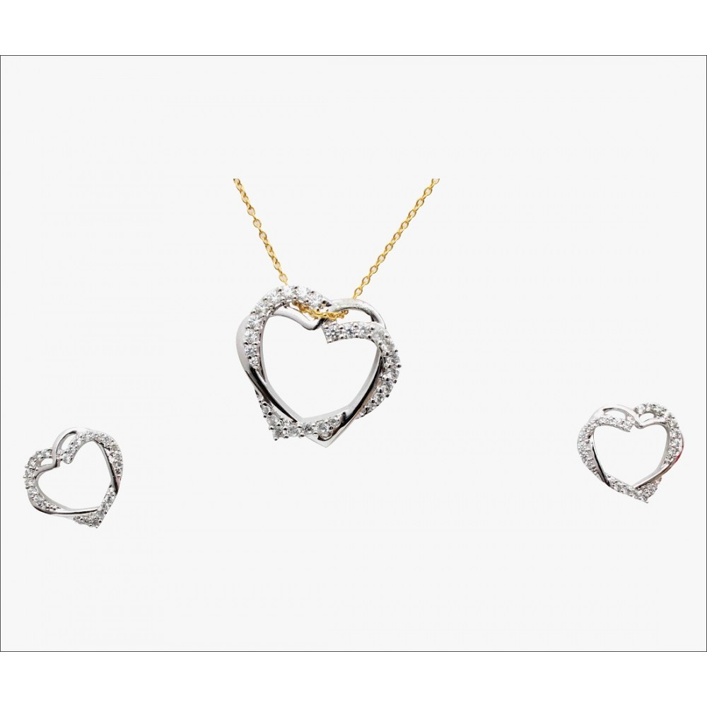 Silver Heart  Pendant Set