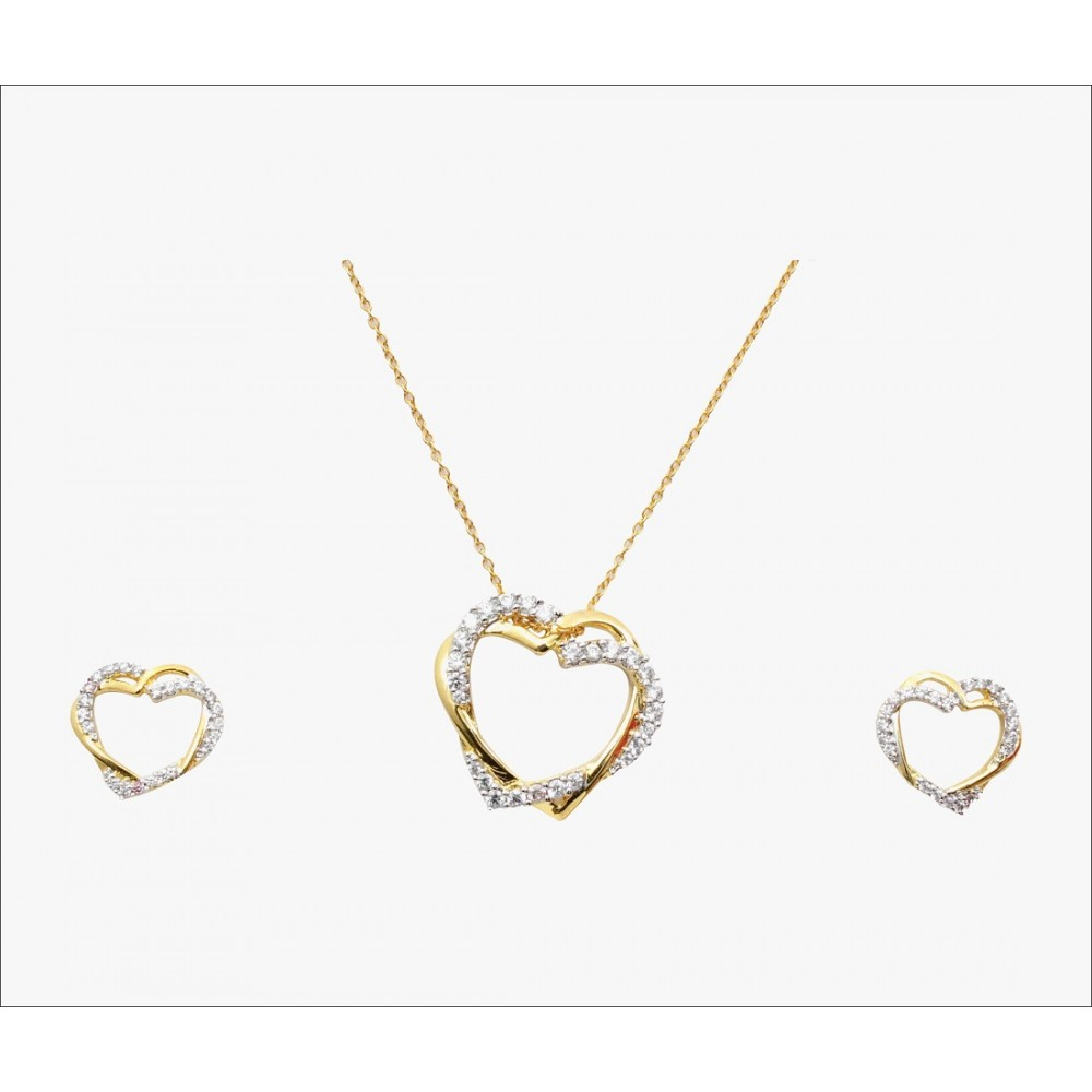 Studded Gold Heart Pendant Set