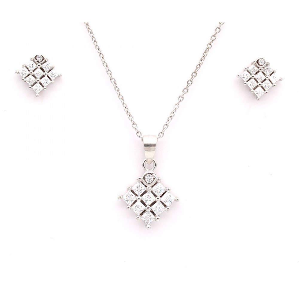 Studded Diamond Shape Pendant Set