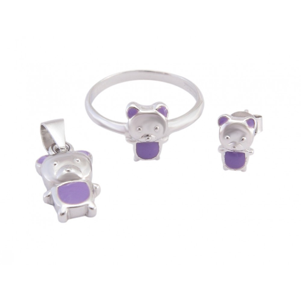 Kids Kitty Pendant Set With Ring (Purple)