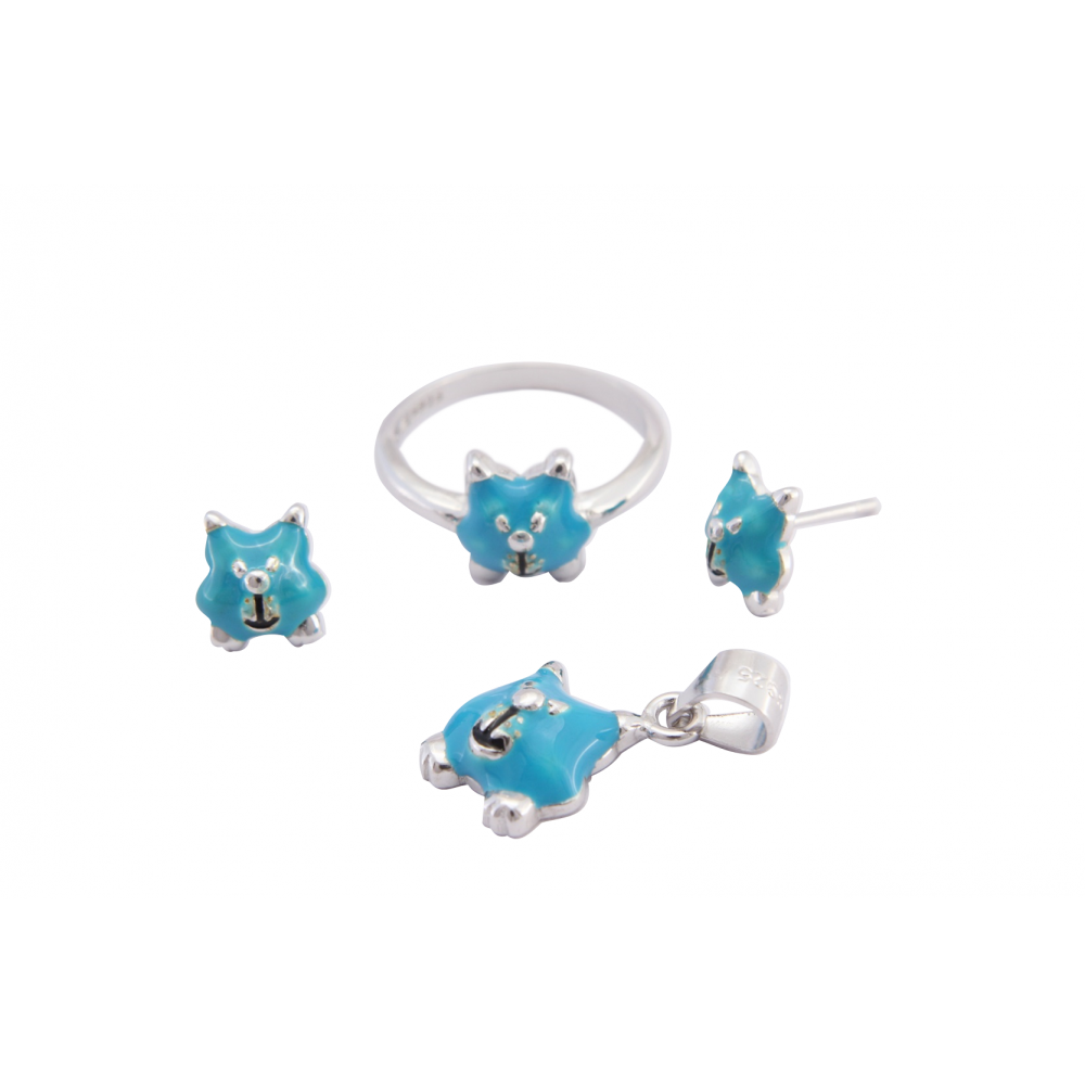 Kids Kitty Pendant Set With Ring (Blue)