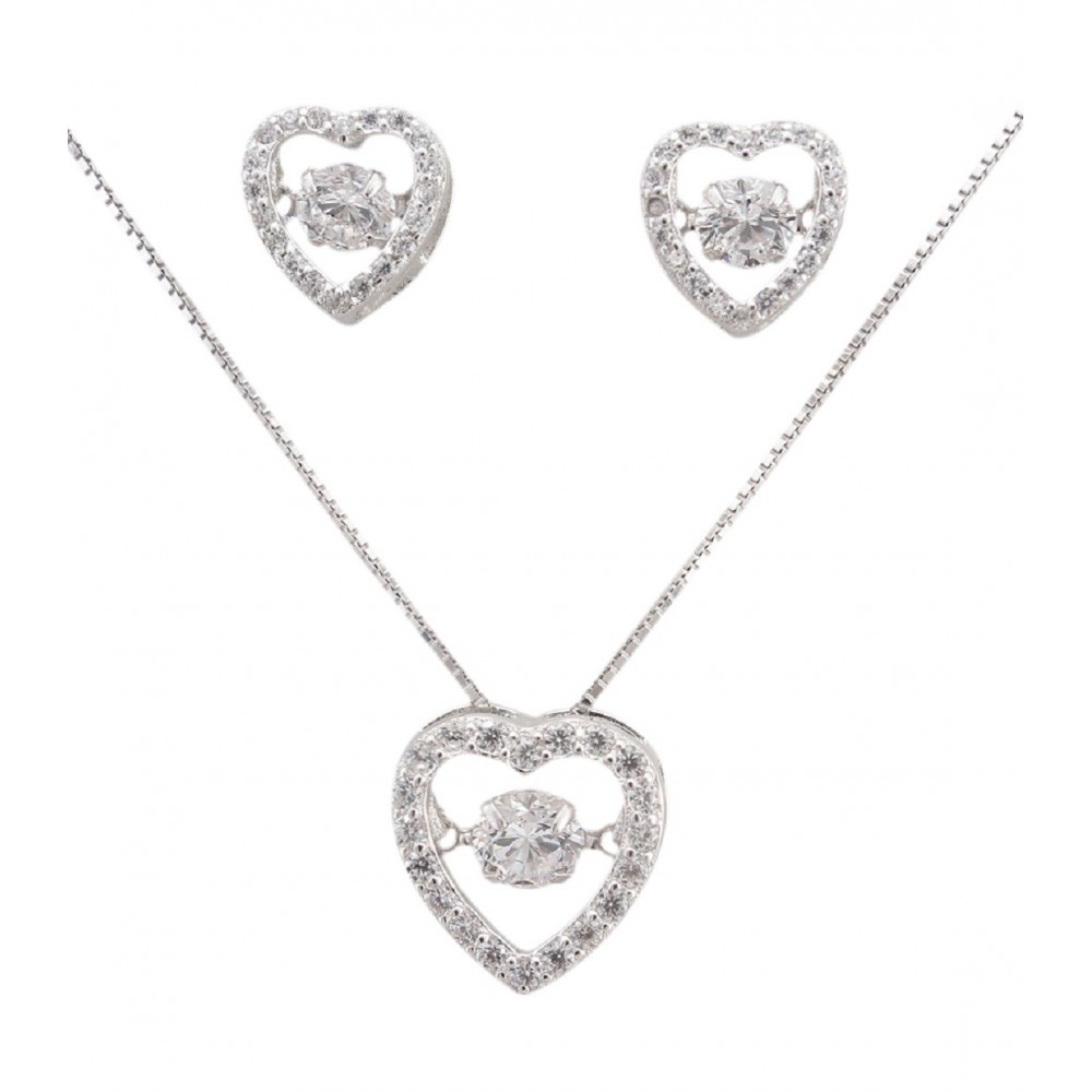 Studded Silver Heart Pendant Set
