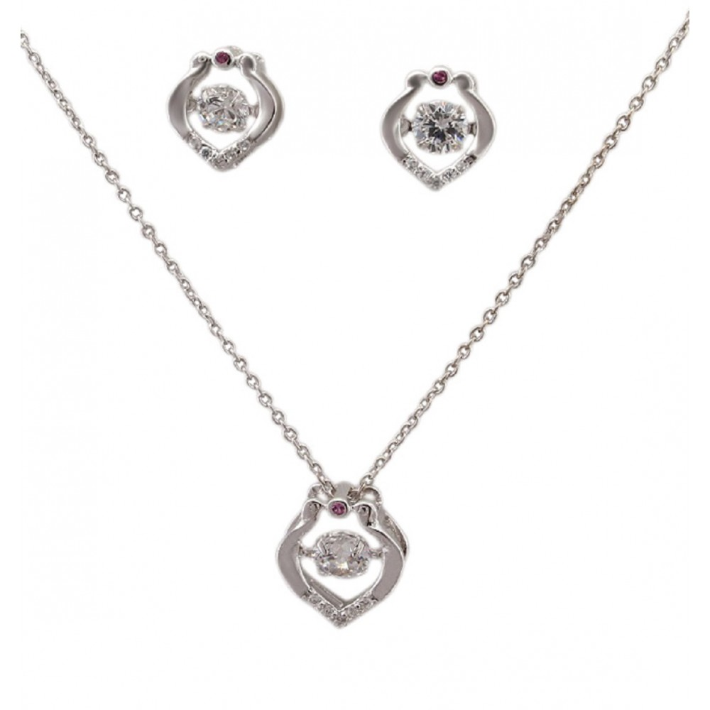 Studded Designer Heart Pendant Set