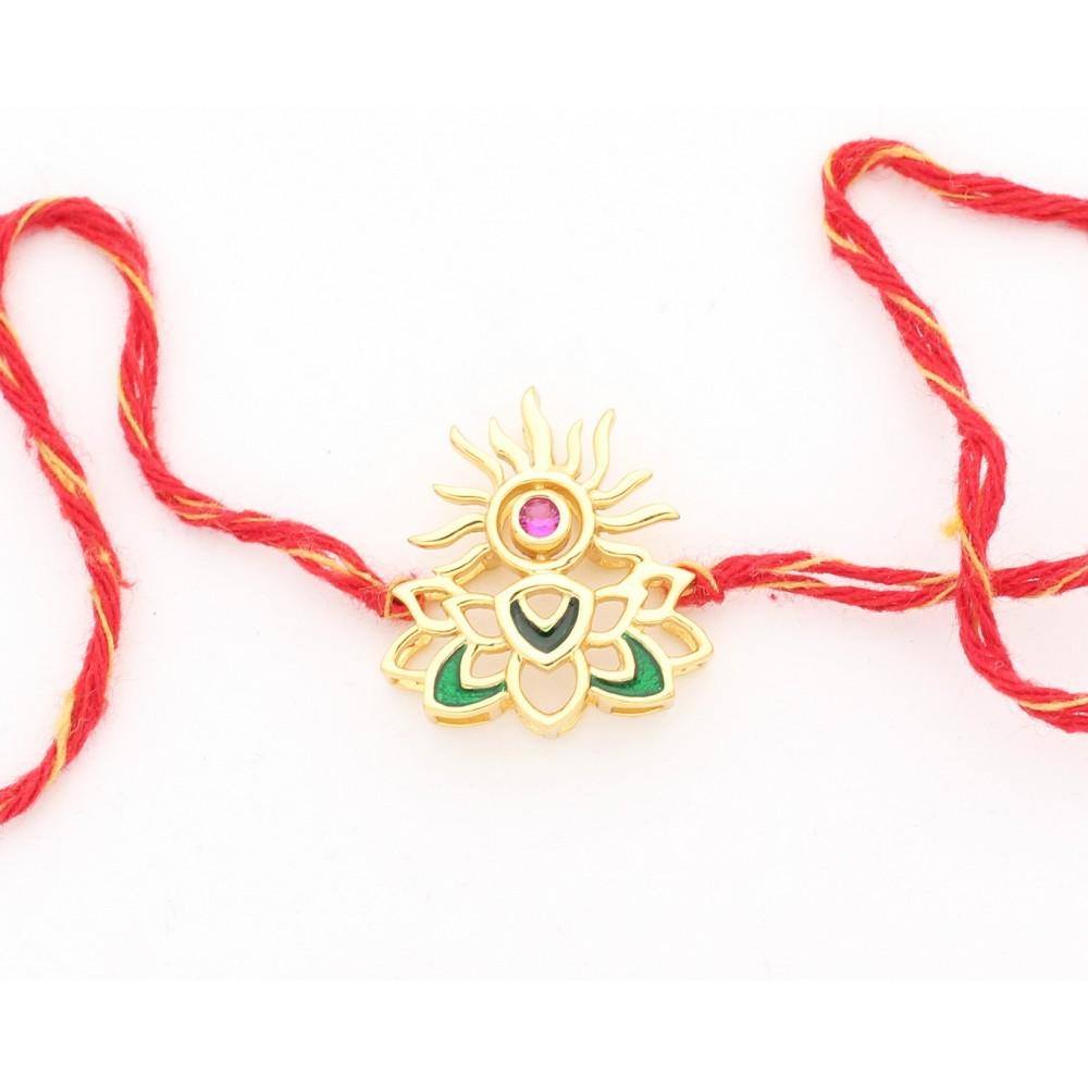 Sun Lotus Silver Rakhi