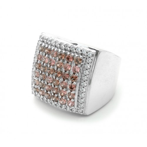 Pink Stones Silver Ring