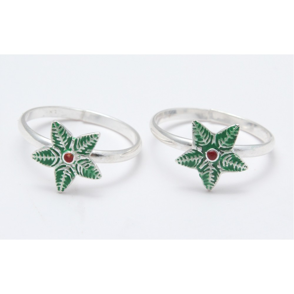 Green Flower Designer Toe Ring