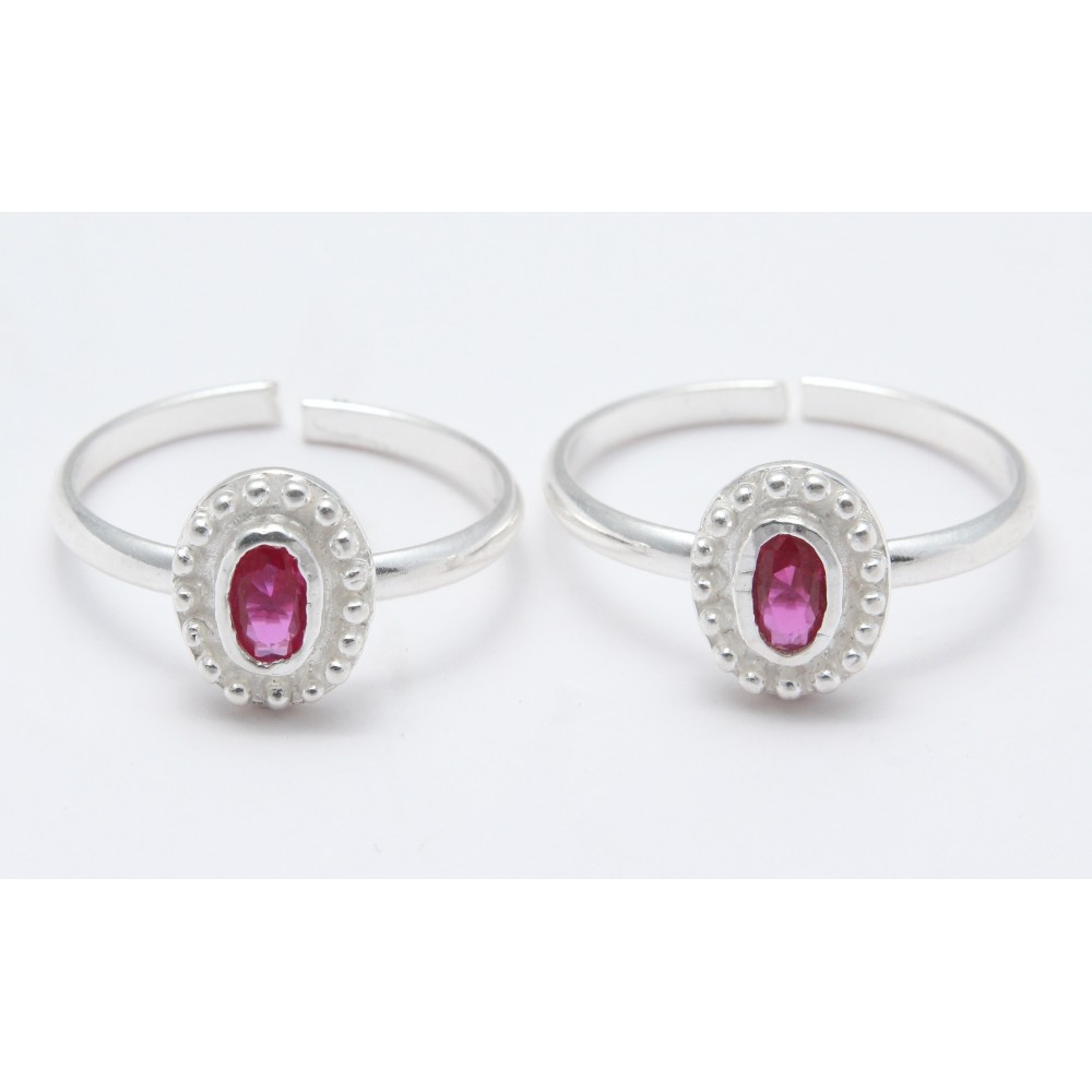 RED STONE OVAL SHAPE TOE RING