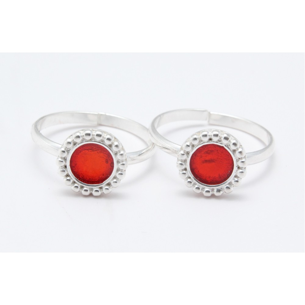 Designer Toe Ring with Red Stone