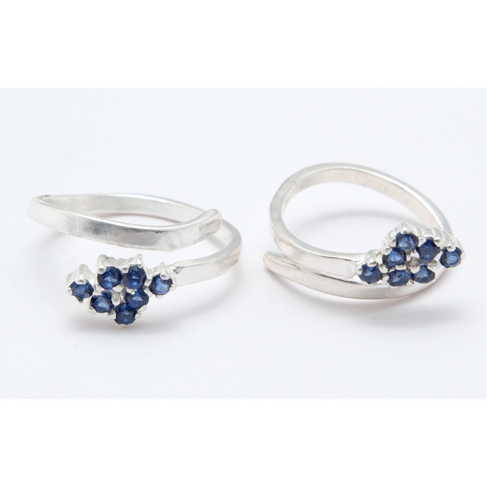 NAVY BLUE STONE FRONT OPEN TOE RING