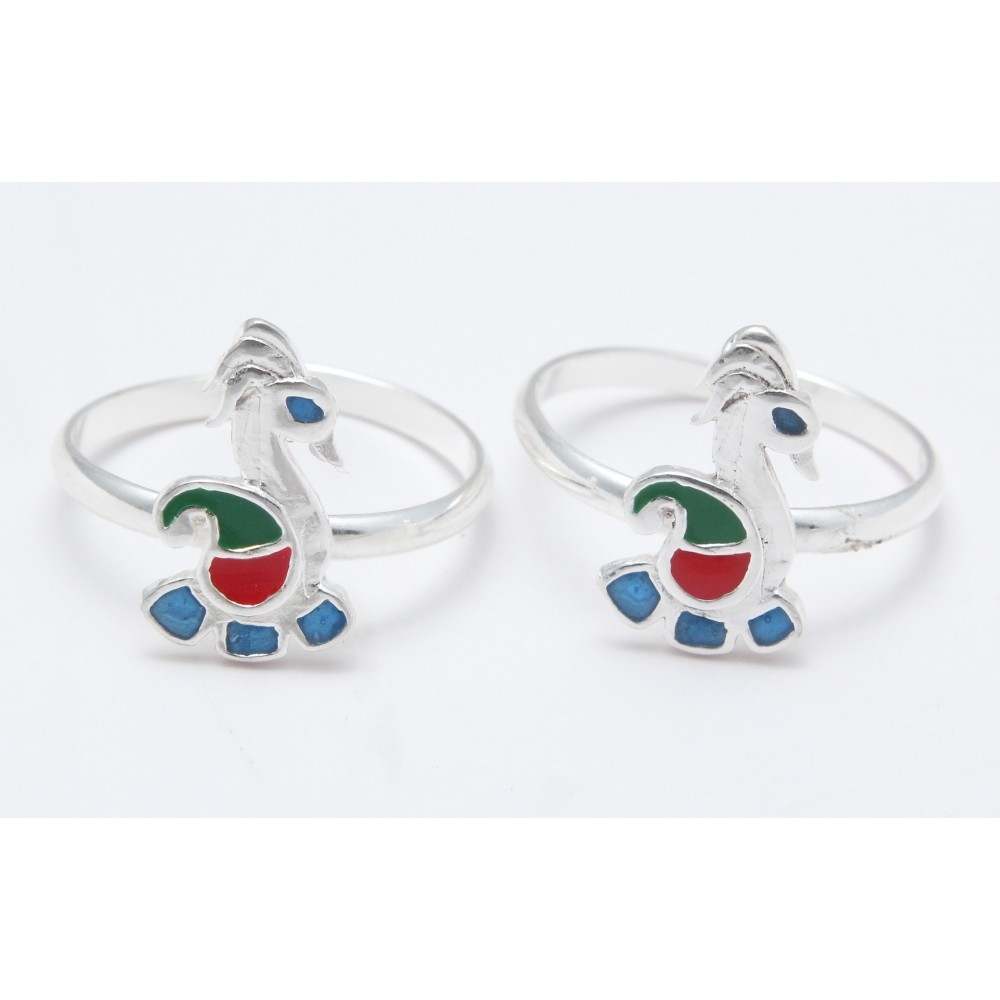 PEACOCK (GREEN RED) TOE RING