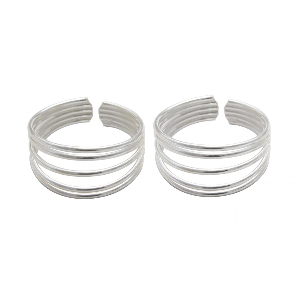 FIVE PLAIN SILVER STRANDS  TOE RING