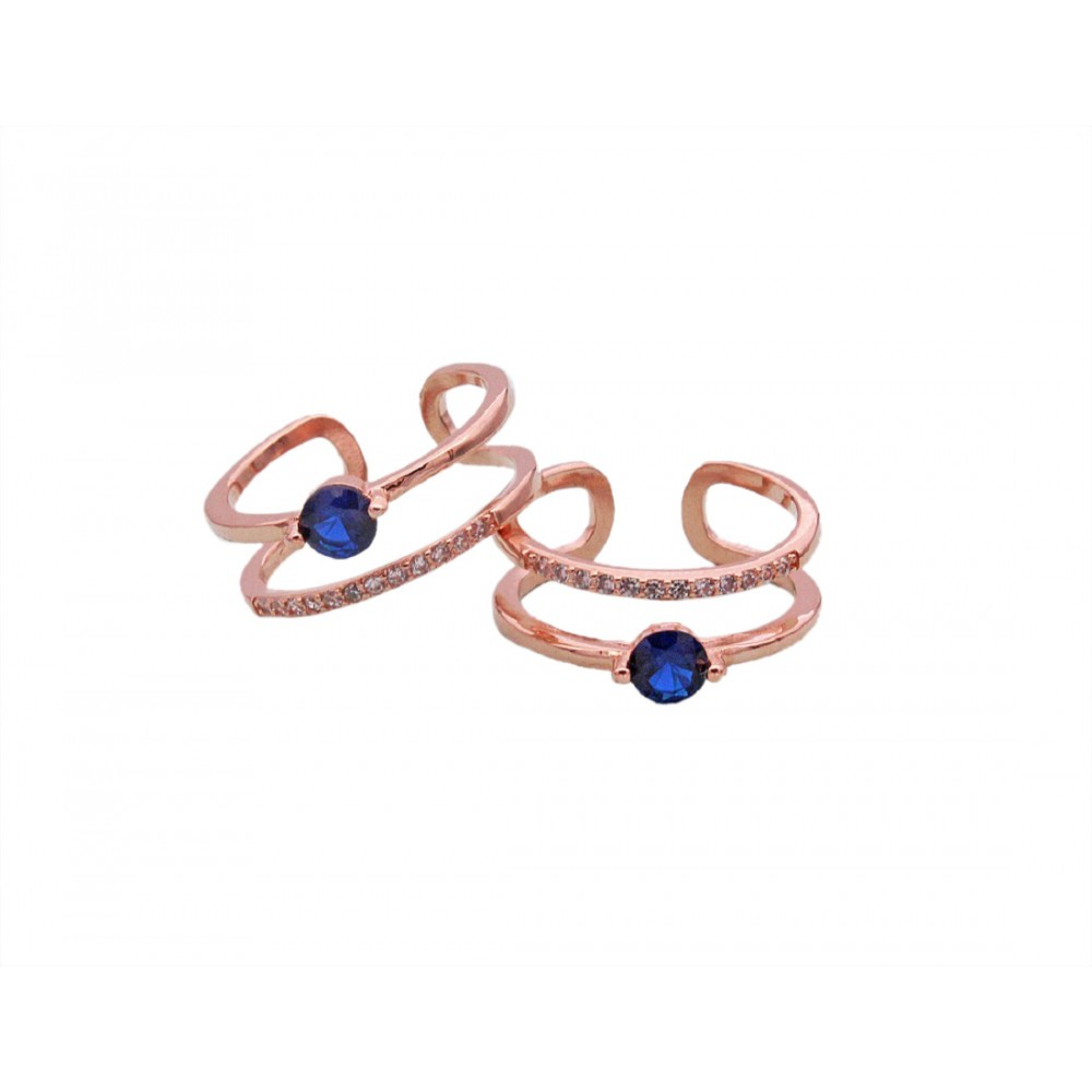 Rose Gold Blue Stone Toe Ring