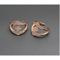 Silver Stone Rose Gold  Toe Ring