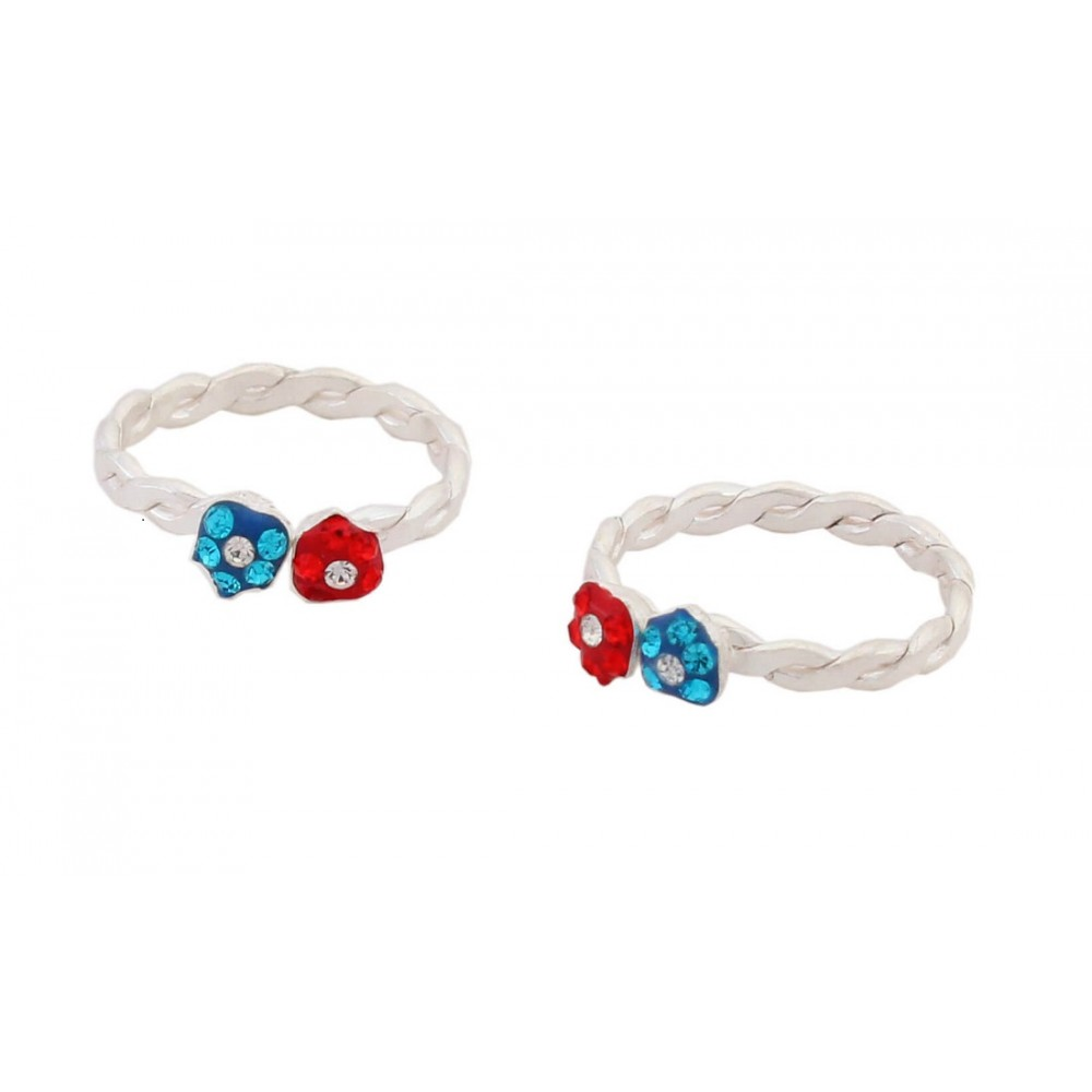Red & Blue Flower Toe Ring