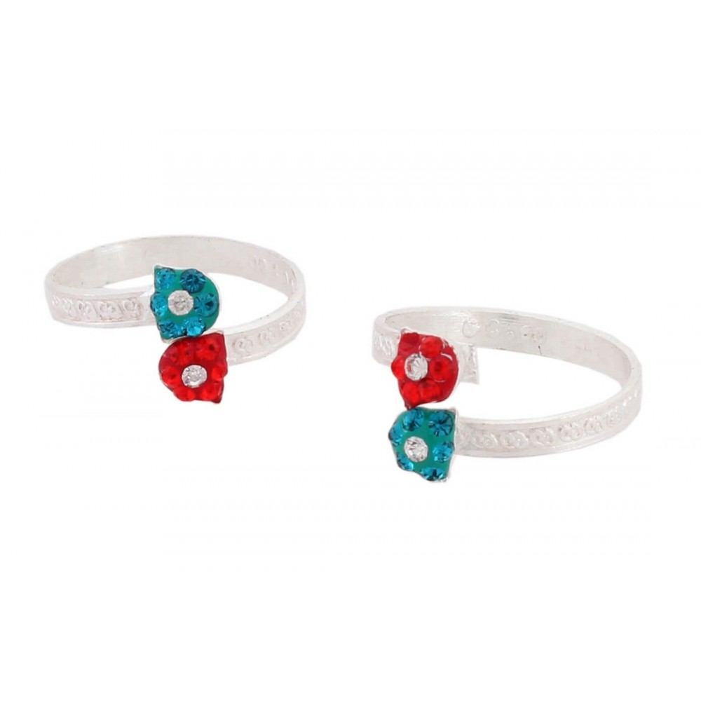 Red & Blue Flower with White Stone Toe Ring