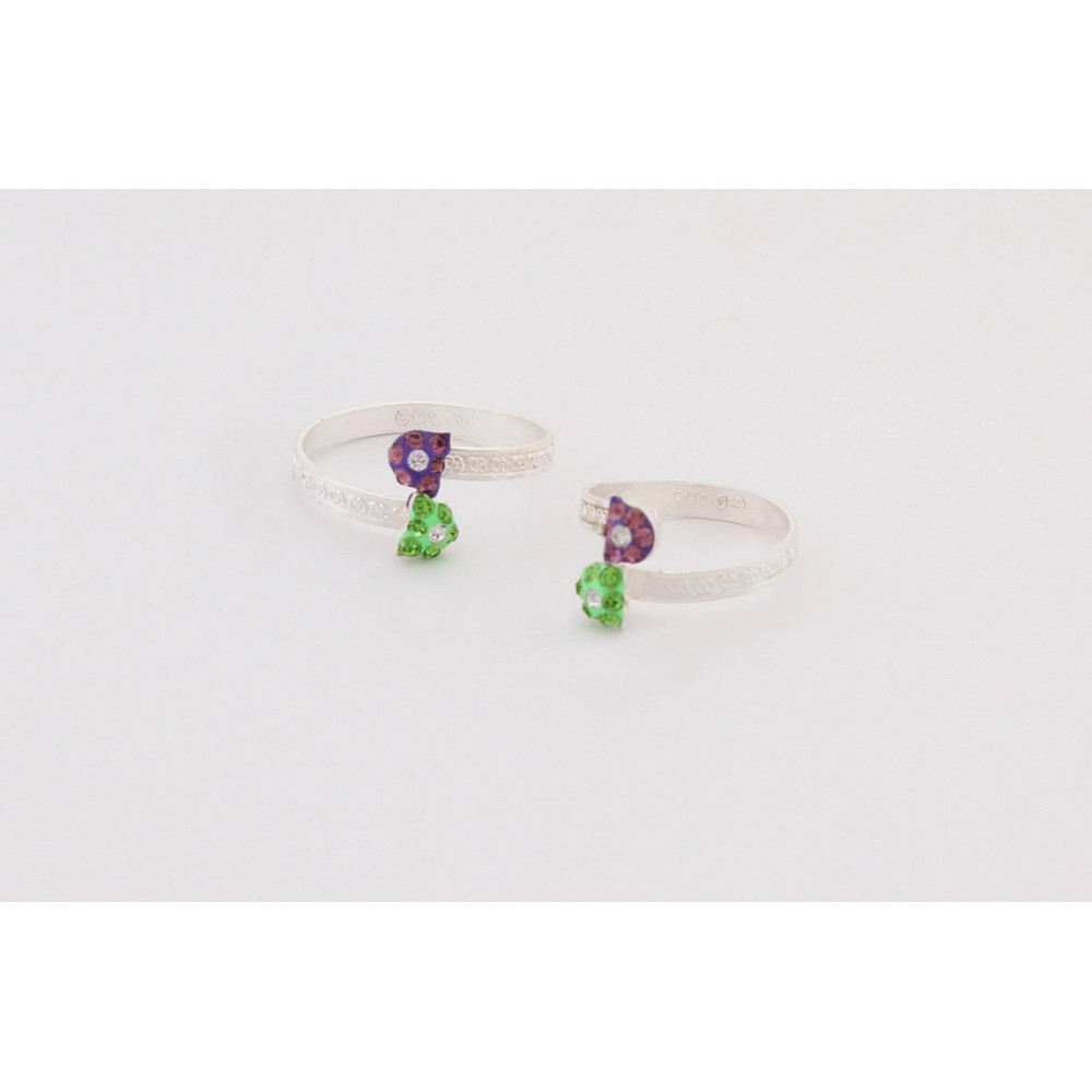 Purple & Green Flower Toe Ring