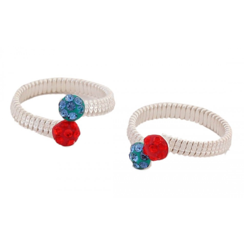 Red & Blue Designer Toe Ring