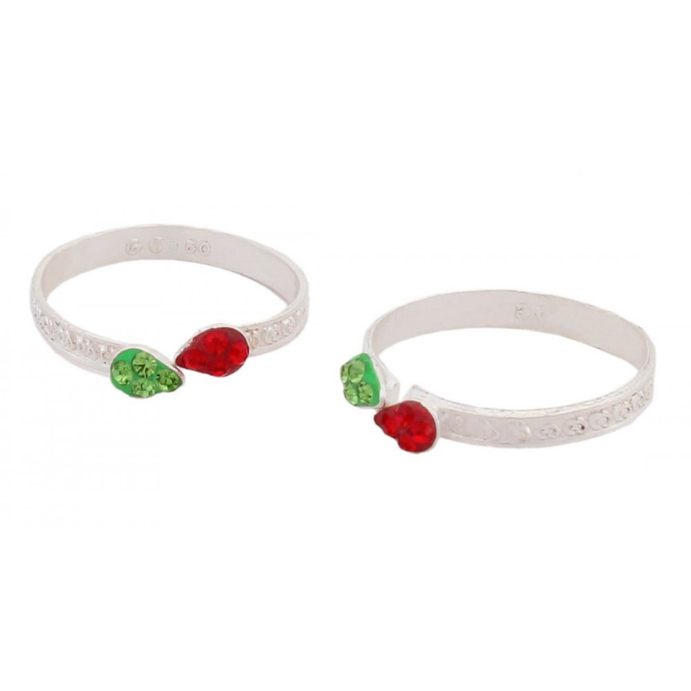 Green & Red Leaf Design Toe Ring